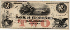 1856 US Obsolete Currency - Bank of Florence $2 Two Dollars Remainder Note*