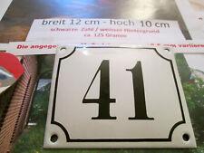 Hausnummer Emaille Nr. 41 schwarze Zahl auf weißem Hintergrund 12 cm x 10 cm