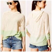 Sparrow Anthropologie Cream Green Color Block Light Hooded Pullover Sweater Sz M