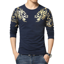 New Men's Tee Shirts Fashion Dragon Print Long Sleeve Cotton Casual T-shirt Tops