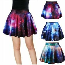 Elastic High Waist Skirt Lovely Galaxy Space Printed Design Casual Fashion Wears