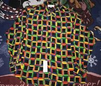 NWT MEN'S GENELLI SILK SHIRT MULTICOLOR GEOMETRIC ABSTRACT SIZE LARGE