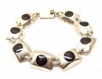 Vtg Sterling Silver Onyx Inlay Link Bracelet Modernist Taxco Mexico Geometric