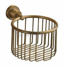 Antique Brass Wall Mounted Bathroom Toilet Paper Roll Holder Basket mba027