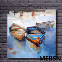 CHENPAT158 100% hand-painted small boat landscape art oil painting  on canvas