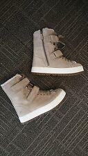 Prada NIB $950 suede and sheepskin fur lace up boots shoes EU38 US 8