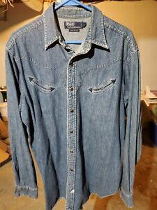 Vintage Ralph Lauren Polo Snap Button Denim Western Shirt Long Sleeve Pockets