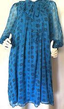ANNA SUI 100% Silk Blue W/Blk Circle Designs Baby Doll Dress W/Bow Ruffles SZ M