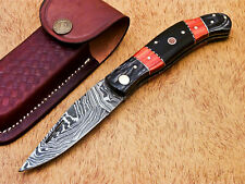 AWESOME HAND FORGED DAMASCUS STEEL POCKET FOLDING KNIFE-BACK LOCK- MP-3807