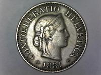 1881-B Switzerland 10-Rappen Circulated Coin - Confoederatio Helvetica