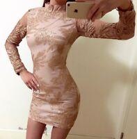 Gold Leaf High Neck Sequin Bodycon Party Dress Boutique Size S-XL Celeb Style
