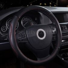 Non-slip Pu Leather Sport Car Black Steering Wheel Cover Protector Size M 38cm