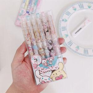 6pcs Kuromi My Melody Hello Kitty Family Gel Pen Black Ink 0.5mm Study Office