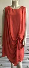 HALSTON HERITAGE orange 100% SILK dress with clinched side waist - UK12