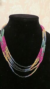 RUBY, Sapphire, Emerald 5 Strand Rainbow Hand Cut Necklace.14 Carat Gold Clasp.