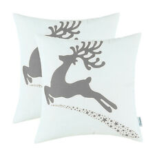 2Pcs Medium Grey Cushion Covers Pillow Shells Christmas Moose Sofa Decor 45x45cm
