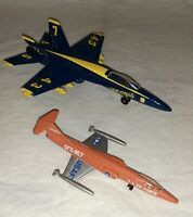 Lot of 2 Diecast Military Aircraft USN F-18 Hornet Blue Angel Jet & USAF F-104