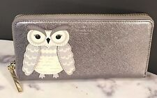 NWT Kate Spade Owl applique lacey zip around continental wallet grey owl RARE