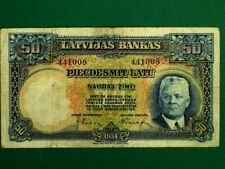 More details for latvia 1934, 50 latu collectable banknote. extra fine