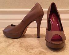 COLE HAAN Tan Taupe Leather Open Toe Stiletto Heel Pump Nike-Air Sole 7B Worn 1x