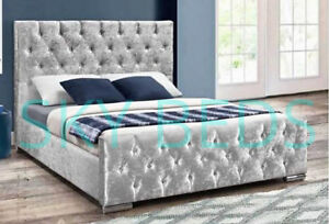 Diamond Style Bed Frame Upholstered in Crushed Velvet Bed - UK HANDMADE