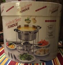 Roshco Buffet Fondue Set Stainless Chocolate and Cheese 12 pc Set W/ Plates