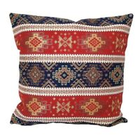 """Red/Blue Kilim Pattern Tapestry 18x18"""" Square Throw Pillow Case / Cushion Cover"""