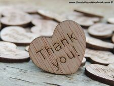 "100 qty 1"" Thank you Wood Hearts Confetti Wooden Wedding Decor Embellishments"