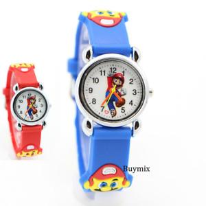 Super Mario Wrist Watch Soft Silicone Strap Boys Girls Children Gift Stocking