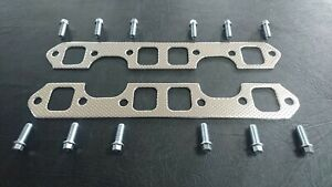 HOLDEN V8 253 - 308 EXHAUST MANIFOLD GASKETS WITH 12 EXTRACTOR BOLTS
