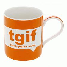 Fine China Orange Novelty Mug Text Talk Boxed Mug TGIF - Thank God It's Friday