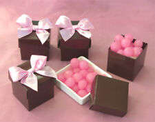 96 Chocolate Brown Cube Wedding Favors Favor Boxes Lot