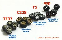 1:64 tires TE37 CE28 T5 4SP rims fit Hot Wheels custom diecast - 4 sets - R341
