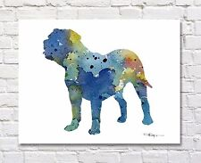 Dogue de Bordeaux Abstract Watercolor Painting Art Print by Artist DJ Rogers