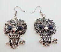 Owl Earrings Silver Base Metal Hook Fasteners Black Crystal Eyes