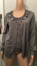 ESCADA AUTHENTIC Gray Cashmere and Silk Jeweled Sweater Set