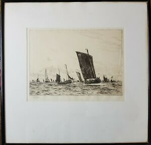 WILLIAM LIONEL WYLLIE - ORIGINAL ETCHING OF BOATS - PENCIL SIGNED