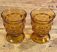 "Indiana Glass 4.25"" Whitehall Amber Water Tumbler Cubist Footed Glass Set of 2"