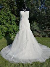 White Mermaid Gown Bridal Wedding Dress Size 10 Color White
