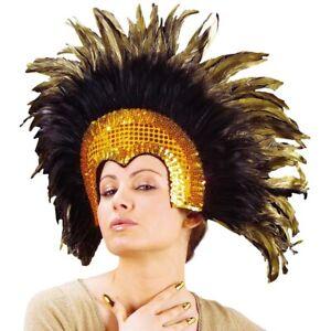 FEDERKOPFSCHMUCK GOLD Karneval Feder Kopfputz Rio Brasilien Travestie Show 6608