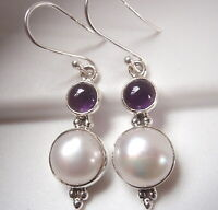Cultured Freshwater Pearl and Amethyst 925 Sterling Silver Dangle Earrings