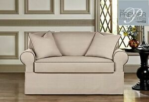 Sure Fit Bahama premiere 2-Piece loveseat Slipcover, smoky pearl / gray washable