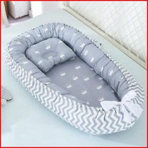 85*50cm Baby Nest Bed with Pillow Portable Crib Travel Bed Infant Toddler Cotton