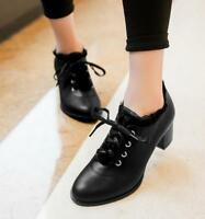 Lolita Women's Lace Up Chunky Heels Kitten Leather Casual Shoes Ankle Boots New