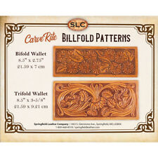 Springfield Leather Co. Veg Tan Leather Carve Rite Floral Billfold Wallet Aid