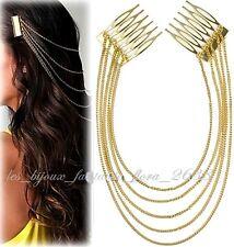 Accessoire cheveux, peigne avec chaîne doré, mariage, cérémonie bijoux fantaisie