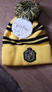 Harry Potter Men's Hufflepuff Beanie Woolly Ski Bobble Hat yellow