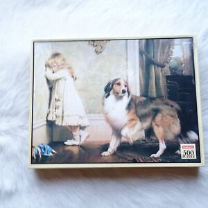 Waddingtons 500 Puzzle GIRL WITH A LASSIE DOG 1983 Vintage Jigsaw ANIMALS RARE