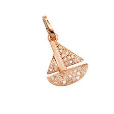 NAUTICAL 14K ROSE GOLD PAVE DIAMOND SAILBOAT SAIL BOAT SHIP PENDANT NECKLACE