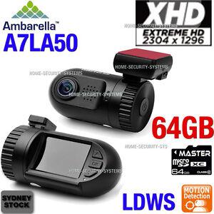 Dash cam Ambarella 64GB A7 1296P mini Blackbox In Car Backup Crashcam Truck